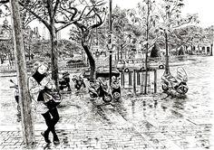 Dessin de la Place d'Italie à Paris! --- Drawing of the Italy Plaza in Paris!