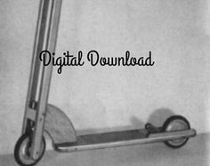 2 Wheel Wooden Scooter Blueprint, Vintage Mid-Century Plans, Woodworking Plans, Ride On Toy, Wood Tricycle, PDF Instant, Digital Download