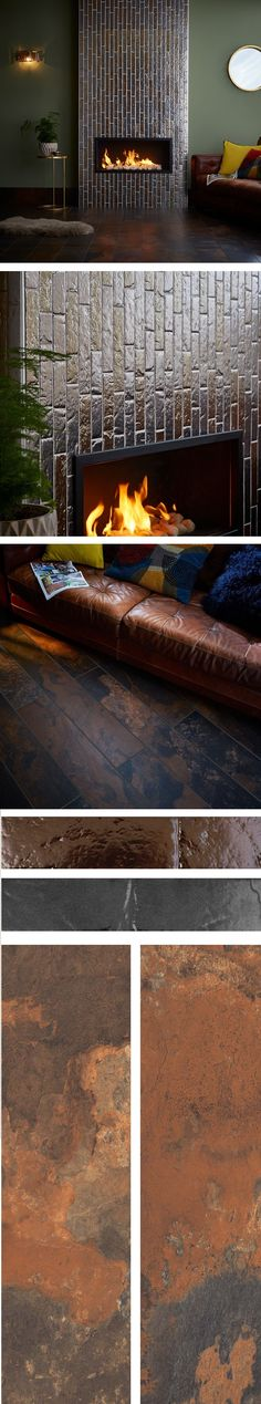 Create warm, cosy, rustic and metallic scheme in your living room this season with a mix of Boutique Brick Slip Tiles and gorgeous Peacock Slate Effect Tiles! Slate Effect Tiles, Living Area, Living Room Decor, Fireplace Ideas, Cosy, Peacock, Brick, Metallic, Lounge