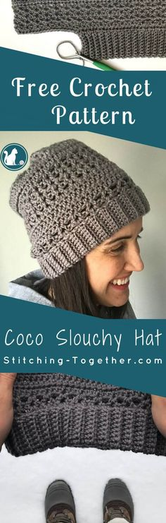 Check out this fun and unique crochet slouchy hat. There is a free pattern so you can make your own! Since the hat is first made by crocheting a rectangle, there is no working in the round. This is a perfect free crochet pattern for a hat making beginner. Crochet Adult Hat, Crochet Slouchy Hat, Crochet Headband Pattern, Beanie Pattern, Knitted Hats, Crochet Patterns, Slouch Hats, Hat Patterns, Crochet Ideas