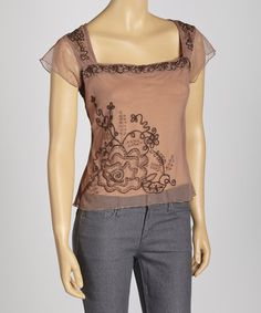 Take a look at this Mauve Sheer Embroidered Cap-Sleeve Top by Papillon Imports on #zulily today!