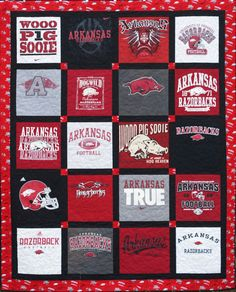 Love the color coordination and borders. Custom Made T-Shirt Quilt - 20 shirts DEPOSIT Only Quilting Projects, Quilting Designs, Sewing Projects, Quilting Tips, Sewing Ideas, Quilt Art, T-shirt Quilts, Custom Made T Shirts, Make Your Own Clothes