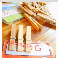 Word matching game with letter pegs