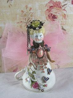 """Angel """"Pink and Pearls"""" Assemblage Art Doll"""
