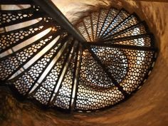 Point aux Barqus Lighthouse  Port Hope, Michigan. Stairs in Lighthouse