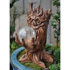 Fiddlehead Fairy Village Tree Spirit w Solar Light -- You can find out more details at the link of the image. (This is an affiliate link) Fairy Garden Houses, Garden Trees, Create A Fairy, Fairy Village, Solar Led Lights, Outdoor Statues, Fairy Furniture, Garden Decor Items, Fairy Garden Accessories