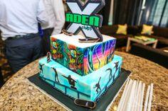A graffiti and skateboarding colored cake for an X-Games Bar Mitzvah. | MitzvahMarket.com