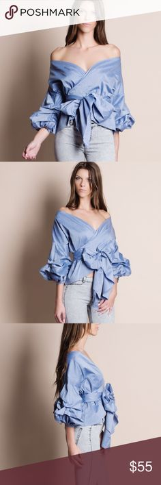 Off Shoulder Puff Sleeve Wrap Top Off Shoulder puff sleeve wrap top. Available in denim blue and white. This listing is for the DENIM BLUE. Bare Anthology Tops Blouses