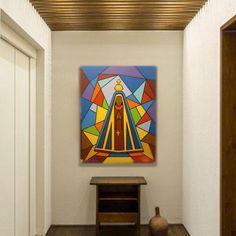 Nossa Senhora de Aparecida Estilizada, painel pintado a mão medindo 80 cm de altura por 60 cm de largura por 4 de profundidade, as laterais são pintadas acompanhando as cores, não sendo necessário o uso de moldura.