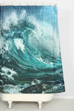 Wave Shower Curtain #urbanoutfitters I need thisssssss