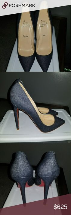 """Christian Louboutins So Kate Denim pump Pre-loved Christian Louboutin pump in denim. 4.8"""" denim stiletto heel. Pointed toe. Low-dipped collar. Cushioned insole. Signature red leather outsole. """"So Kate"""" is made in Italy. Christian Louboutin Shoes Heels"""
