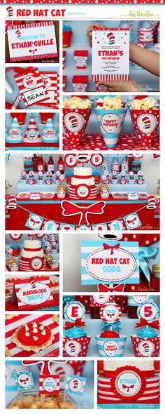 Dr Seuss Birthday Party Package Collection Set Mega Personalized Printable Design by leelaaloo.com || #dr.seuss #red #hat #cat #girl #birthday #party #theme #Leelaaloo