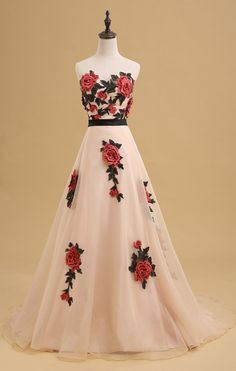 Cheap prom dresses Rose Embroidered Floor Length Chiffon