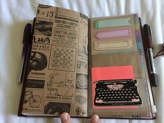 Midori Travelers Notebook. The back of the Kraft file I made and some sticky flags inside the plastic zipper pocket.   by Tracy McL