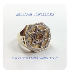14K gold men's Star of David ring with 1ct worth of diamonds #williamsjewellerstoronto