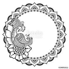 Vektör: Henna tattoo flower template and patterned frame. Set of … Vektör: Henna tattoo flower template and patterned frame. Set of ornamental patterns in the oriental style. Mandala Design, Mandala Pattern, Zentangle Patterns, Peacock Mehndi Designs, Peacock Embroidery Designs, Henna Flower Designs, Doodle Art Drawing, Mandala Drawing, Ornament Pattern