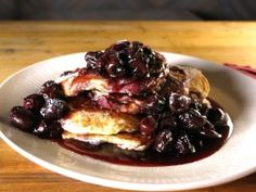 Cream Cheese Pancakes with Cherries Jubilee Syrup : Recipes : Cooking Channel/Say Cheese