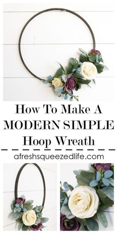 MODERN AND SIMPLE WREATH TUTORIAL - A Fresh-Squeezed Life, Want to make a DIY wreath for your front door or living room? I will show you how to make a modern farmhouse wreath perfect for spring or summer decor. Modern Front Door, Front Door Decor, Wreaths For Front Door, Door Wreaths, Front Porch, Yarn Wreaths, Ribbon Wreaths, Floral Wreaths, Burlap Wreaths