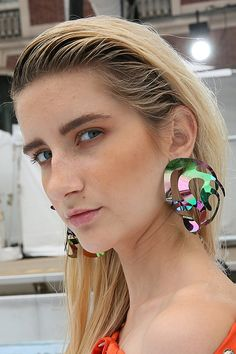 Large-scale sculptural baubles in blue, pink, white and metallic were a fixture at Rosie Assoulin's spring/summer 2016 show during New York Fashion Week (Photo: Richard Termine for The New York Times)