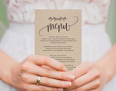 **poster size tho** This listing is for a Rustic Wedding Menu PDF Instant Download. Purchase this listing to receive a high resolution 4x9.25 template DOWNLOAD