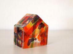 Decoupage a stained glass house - Mod Podge Rocks