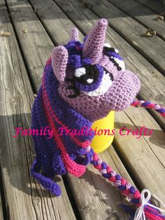 HOw freaking cute is this hat? My Little Pony Twilight Sparkle. Crochet Pattern Coming Soon.   Hat Retail $30