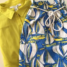 Lilly Pullitzer   Docksider Print Skirt   Size: XS Lilly Pullitzer   Docksider Print: Yellow And Blue Sailboat Skirt   Size: XS   Great Condition   True to Size   White Rope Drawstring Belt   Pet/Smoke Free Home   100% Cotton Lilly Pulitzer Skirts Circle & Skater