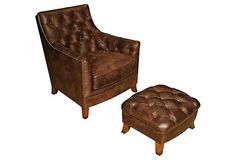 Sarreid Albany Chair & Stool, Chocolate - One Kings Lane