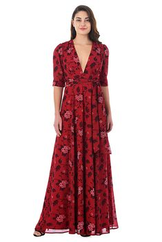 FLORAL PRINT GEORGETTE BANDED EMPIRE MAXI DRESS STYLE # CL0054204  $74.95