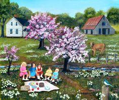Picnic Original Oil Painting Landscape Folk Art Flowering Trees Carolina Barn Country Scene Cow Daisy Field Arie Reinhardt Taylor by jagartist on Etsy
