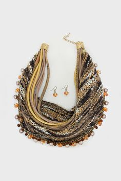 Knit Delphi Necklace in Leather and Crystal on Emma Stine Limited