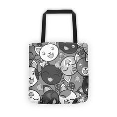 Happy Cats Gray Tote Bags by Brian Martin | Inktale