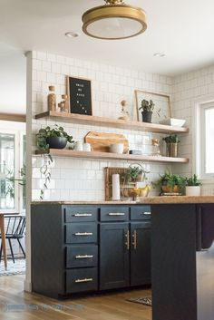 open shelving with painted cabinets