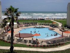 South Padre Island condo rental - Ocean pool and Deck sitting area on Beach side. South Padre Island Condos, Sitting Area, Ideal Home, Places To Travel, Ocean, Vacation, Explore, Destinations, Beach