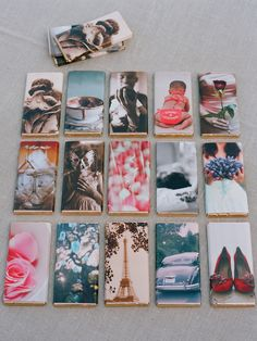 Candy bars Elisabeth Messina made for her wedding, wrapped in photographs from her life.