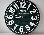 Wall clock -Paris- black shabby chic cottage style birch wood vintage style