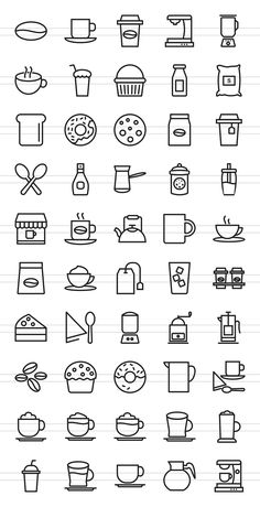 50 Coffee Shop Line Icons by IconBunny on @creativemarket