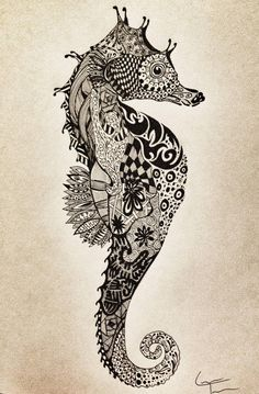 Zentangle - the art of doodling, anyone can so it! Check out this cool Seahorse zentangle tattoos Hai Tattoos, Bild Tattoos, Cool Tattoos, Tatoos, Doodles Zentangles, Zentangle Patterns, Tattoo Patterns, Zentangle Animal, Zentangle Drawings