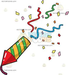 Birthday Popper: A party popper shaped like a rocket with a red triangular head and string and a striped yellow and green body releasing a slew of colored confetti