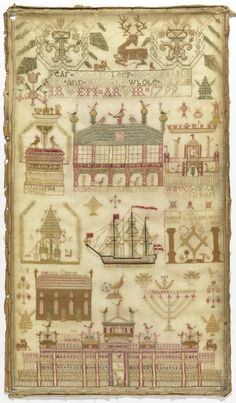 Sampler, 1799. Medium: silk embroidery on wool foundation Technique: embroidered in cross, stem, satin, eyelet, long-armed cross, and running stitches on plain weave foundation.