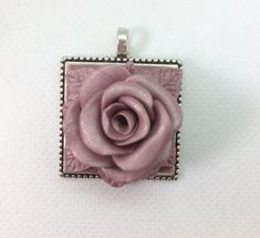 Rose square necklace polymer clay-shimmery blush pastel dusty pink color by NadoandLola on Etsy
