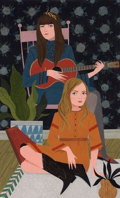 Loris Lora illustration   retro-inspired illustrations   folk music