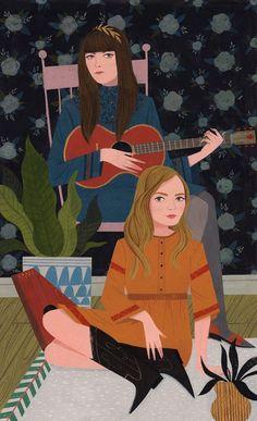 Loris Lora illustration | retro-inspired illustrations | folk music