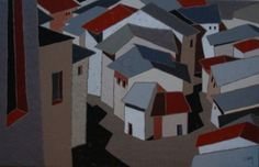 "http://chalang.wordpress.com .""Ardoises"" mix media on caneva by Chantal Lang"