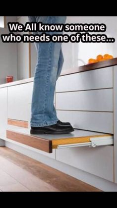 This is higher than the usual pull--out step, therefore more useful to short people.