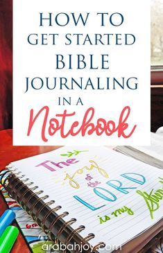 How to do Bible Journaling in a Notebook - Arabah Bible journaling in a notebook is a great way to Bible journal if you don't want to create in your Bible. Choose a Bible study journal and get started with us. Bible Study Notebook, Bible Study Plans, Bible Study Tips, Bible Study Journal, Scripture Study, Bible Art, Bible Bullet Journaling, Scripture Doodle, Scripture Journal