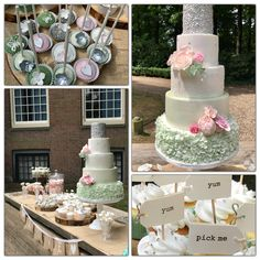 Romantic Weddingcake and sweet table rufllles pearl green sugarflowers silver stars Is Your Cake