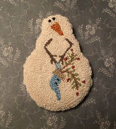 Primitive Punch Needle Pin by The Talking Crow--her pins are so cute!