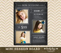 Mini Session Template Marketing Board for Photographers  Photography INSTANT DOWNLOAD