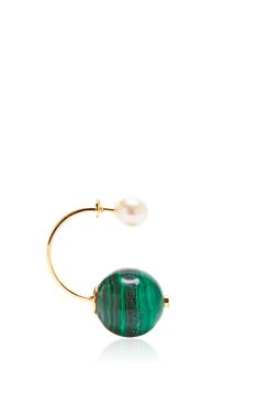 Malachite Stone-Edge Piercing Earring by Delfina Delettrez for Preorder on Moda Operandi